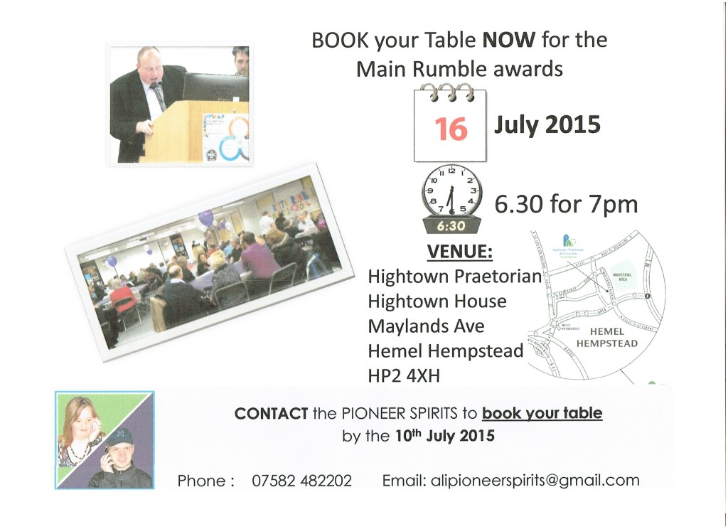 Book your table for Main Rumble awards